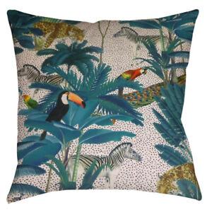 HANDMADE cushion cover Use Tropical jungle velvet animals parrot peacock Fabric