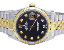 Rolex Datejust 36MM Two Tone 18K/ Steel Fluted Bezel Black Dial Diamond Watch