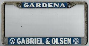 Rare Gardena California Gabriel and Olsen Volkswagen dealer license plate frame