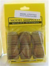 """Model Shipways Fittings MS 0386 Walnut Barrels 7/8X3/4""""  (22X19MM). 6 Per Pack."""