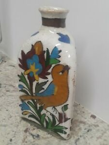 Rare antique bottle vase flask Persian Iznik pottery