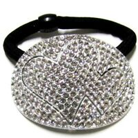 HEART AUSTRIAN CRYSTALS HAIR PONYTAIL HOLDER BRIDAL PROM ACCESSORY