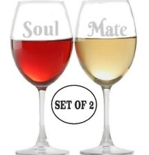 SOUL MATE Etched White Red  Wine Glasses  Set Of 2 Monogrammed Engraved