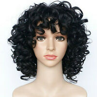 Resistant Wigs Full Wig Synthetic  Womens Short Wavy Black Curly Wave Heat Party