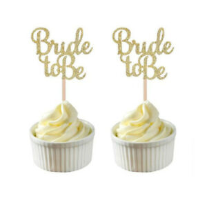 Polka Dot Sky Bride To Be Paper Cake Topper Decoration Gold Glitter 10 Pack UK