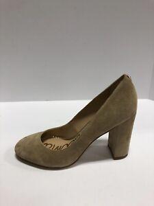 Sam Edelman Stillson Womens Pump Heels Block Heel Oatmeal Suede US7 Wide