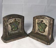 Antique  Bookends Sorority Crest College University Fraternity Fraternal Skull