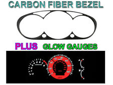 COMBO - RED Glow Carbon Fiber Gauge + Bezel For 02-05 Honda Civic Si EP3 JDM