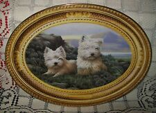 FRANKLIN MINT COLLECTOR OVAL PLATE WHITE TERRIERS 'IN THE HEATHER' 22cm