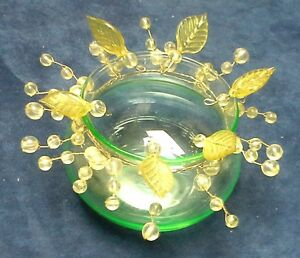 Pretty 3 inch Wire Beaded Green Tinted Glass Bubble Bowl