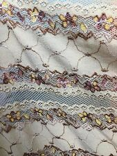 """TAN STRETCH MESH LACE EMBROIDERED FABRIC 60"""" WIDE 1 YARD"""