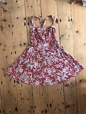 RRL Ralph Lauren Sol Vestido para mujer Vintage Red Floral Sz4 US8 UK12