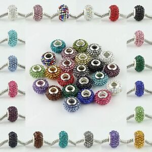 5PCS Czech Crystal Silver Big Hole Beads 14mm Fit European Charm Bracelet