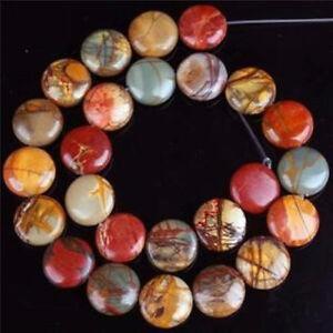 12mm Multicolor Picasso Jasper Gem Coin Loose Bead 15''AAA ##QF048    2pcs