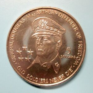 1989 GENERAL MacARTHUR 5 DOLLAR PROOF COIN from NIUE, FREE S&H