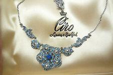 Gorgeous Art Deco vintage silver metal blue rhinestone marcasite necklace
