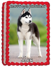 HUSKY DOG A4 PREMIUM Edible RICE WAFER Cake Topper CAN PERSONALISE SIBERIAN D1