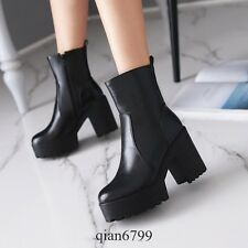 Gothic Womens Block Heels Platform Black Motorcycle Faux Leather Punk Ankle Boot