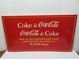 """Coke is Coca-Cola Coca-Cola is Coke Red Cardboard Litho Sign 36"""" ~EXCELLENT~"""
