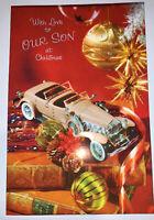 Vintage Paramount Parachrome 1970's Christmas  Son Greeting Card Car Used