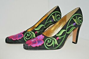 ZALO Shoes NEW VINTAGE Leather Sole HAndmade SPAIN Women SZ 9M Floral EMBROIDER