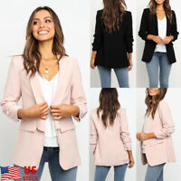 Women Casual Blazer Jacket Tops Outwear Long Sleeve OL Career Formal Long Coat