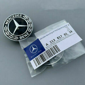 OEM Mercedes Benz Star Flat Hood Bonnet Logo Emblem Badge High Gloss Black