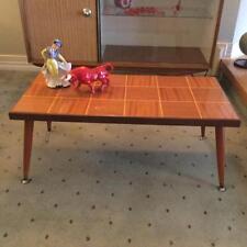 RETRO MID CENTURY DANISH ERA COFFEE TABLE PARQUETRY STYLE TOP  CIGAR LEGS