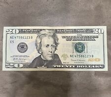 👉🏼$20 Bill With BROKEN LADDER! A 2017 Fancy Serial Number  47586123! Free Ship