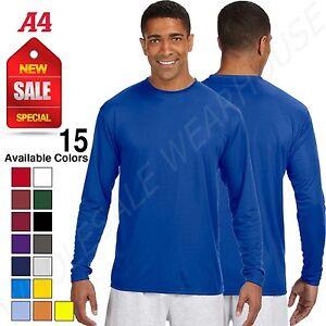 A4 Mens Dri-Fit 100% Polyester UPF 44+ UV Performance Long Sleeve T-Shirt N3165