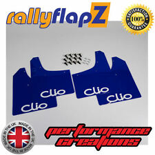 rallyflapZ RENAULT CLIO MK3 (05-12) Mud Flaps Mudflaps Blue Logo White 3mm PVC