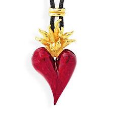 llameante Corazón Grande Colgante DRACHENFELS D en 31 AGG Plata Rojo Pintura