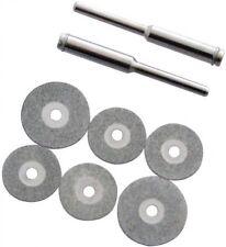"6 Piece Diamond Cutting Disc Set Cut Glass Metal Stone With 2 1/8"" Shank Mandrel"