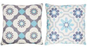 Ivory Cream Blue Cushion Grey Mediterranean Mosaic Tile Print With Inner Pad