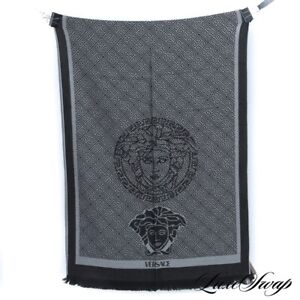 NWT Versace Made in Italy Black Grey Medusa Greek Key Wool Knit Logo Scarf HUGE