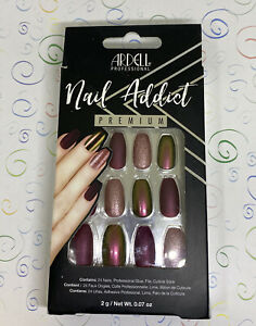 Ardell Nail Addict Premium 24 False Nails Set Red Cateye Glue & File NEW