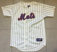 Rare New York Mets Jersey Youth Size Large L Pinstripe By Majestic baseball