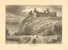 Wales, England, Harlech Castle, Vintage, 1875 Antique Art Print,