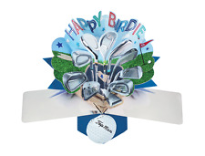 Happy Birdie Golf Pop-Up Greeting Card Original Second Nature 3D Pop Up Cards