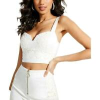 Guess Womens Caylin Ivory Crochet Front Tank Crop Top Shirt XS BHFO 0442