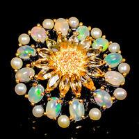 Opal Ring Silver 925 Sterling Beauty Rainbow6x4mm Size 6.5 /R141383