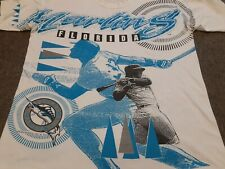 VTG 90s 1993 MLB Florida Marlins All Over Print Tee T Shirt White Large L Miami