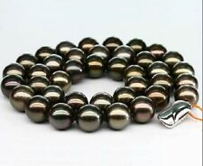 """Huge 18""""13mm natural Tahitian genuine black perfect round pearl necklace"""