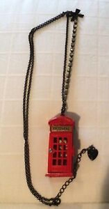 Betsey Johnson Royal Engagement Telephone Booth Necklace