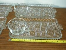 Vintage 1950's Anchor Hocking Serva Snack Set Moons Bubbles Dots Circles Retro