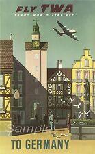 VINTAGE GERMANY TWA TRAVEL A4 POSTER PRINT