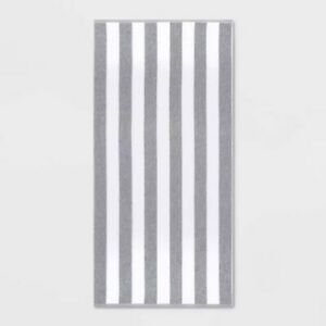 "Sun Squad Cabana Striped Travel Size Beach Towel Gray  28"" x 58"" NEW"