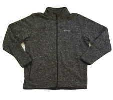 Columbia Men's Knit Sweater Jacket Sz XL Full Zip Fleece Lined Heather Gray EUC