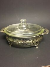 Beautiful PYREX ETCHED GLASS CASSEROLE DISH WITH EMBOSSED METAL BASE Stand