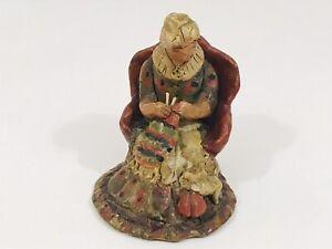 "American Folk Art Indigenous Art Clay Pottery Figurine ""grandma knitting""signed"